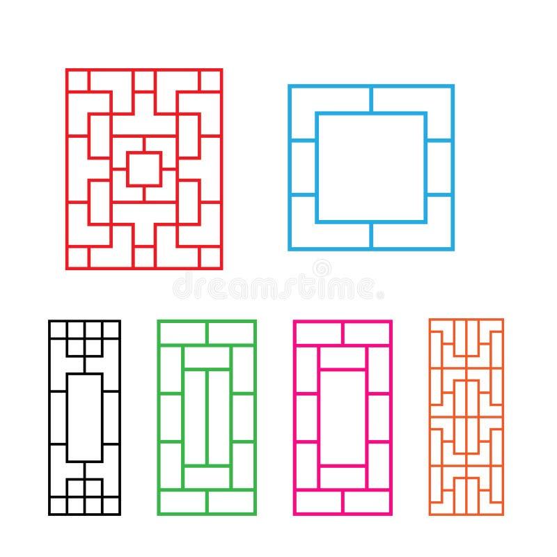 Chinesische Verzierung für Tür, Fenster, Wand und Zaun stock abbildung