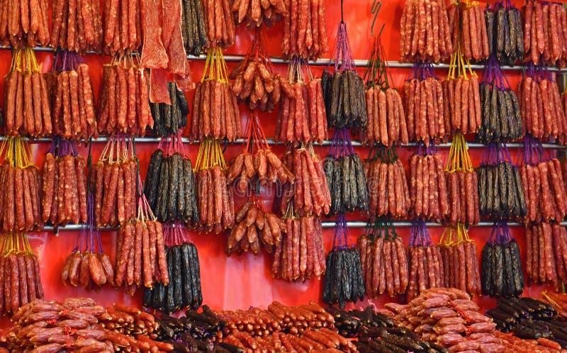 Chinesische Würste und kuriertes Fleisch lizenzfreies stockfoto