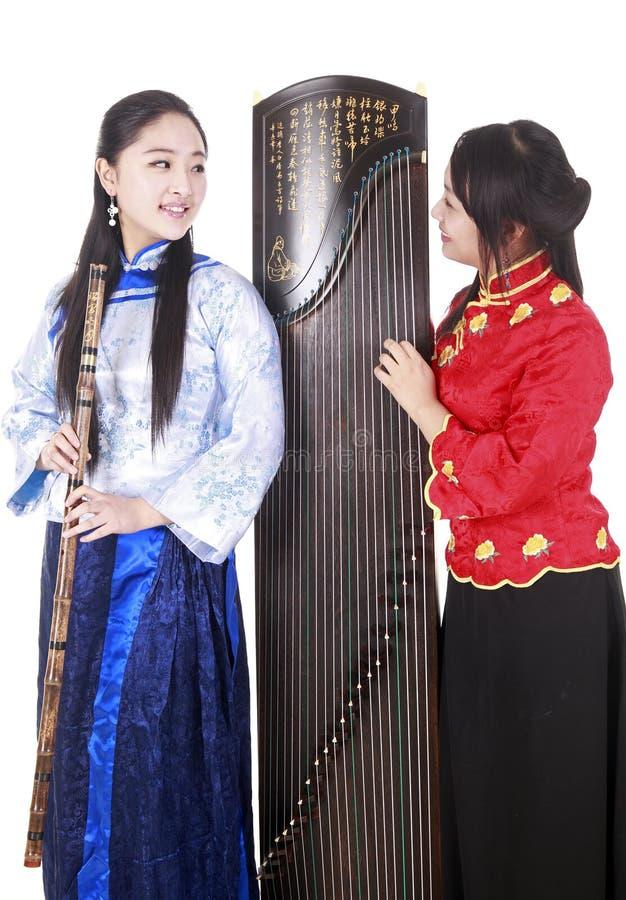 Chinesische weibliche Musiker stockfotos