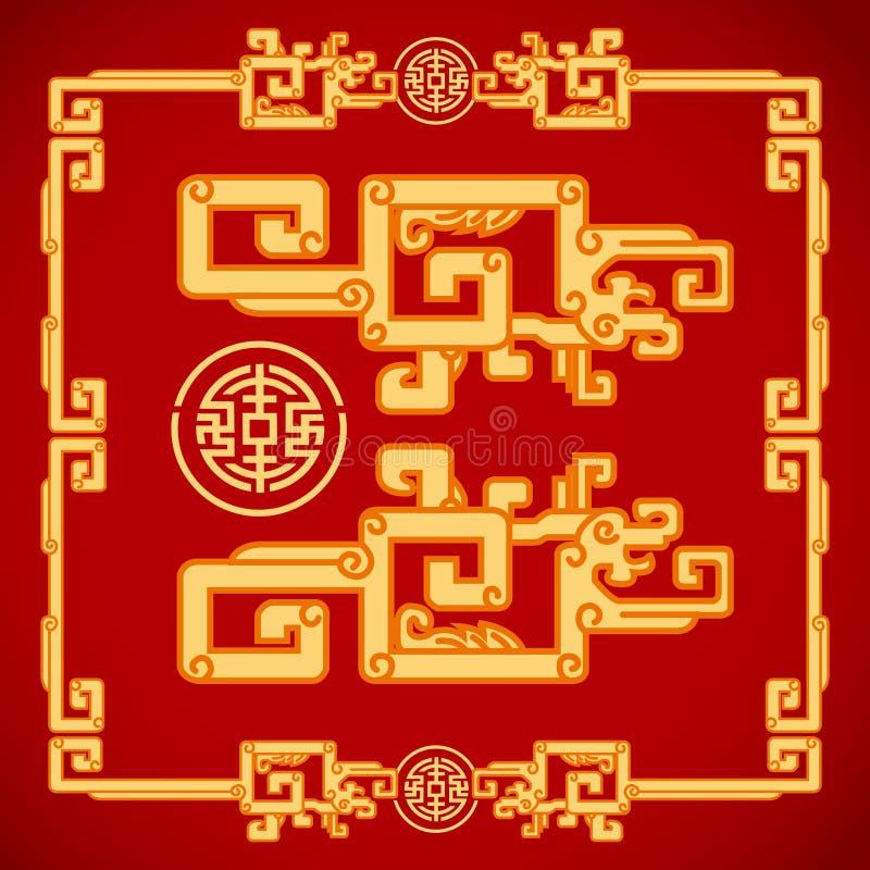 Chinesische Weinlese Dragon Elements auf klassischem rotem Hintergrund vektor abbildung
