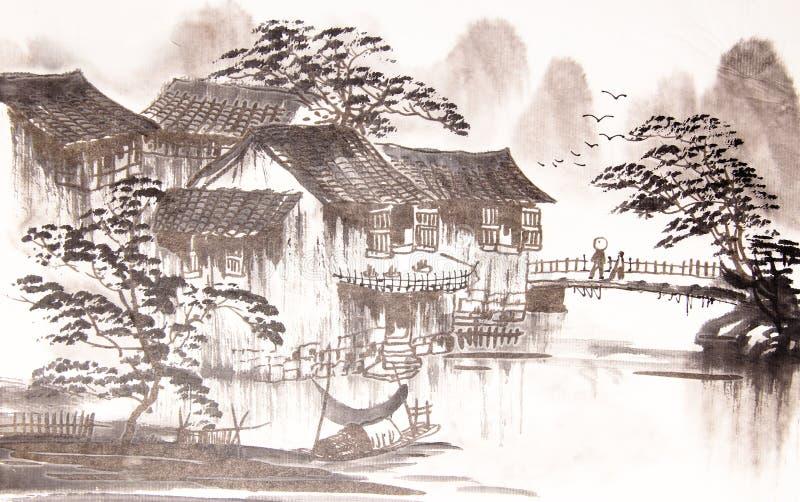 Chinesische Zeichnungswasserstadt vektor abbildung