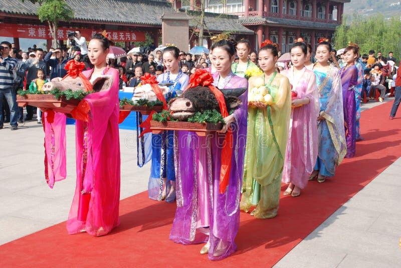 Chinesische Zeremonie des allgemeinen Denkmals des Qingming Festivals stockfotos