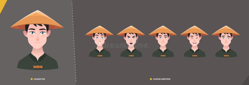 Chinesischer azian Mannzeichensatz von Gefühlen stock abbildung