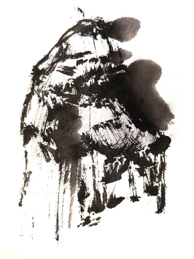 Chinesischer B?rstenanschlag, der freih?ndig malt stock abbildung