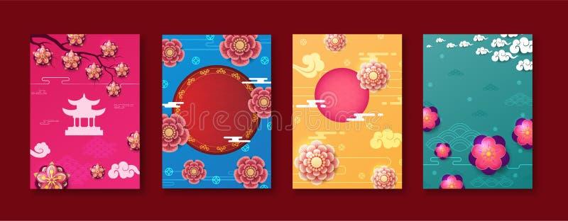 Chinesischer Designhintergrund des neuen Jahres Verkaufs-Designschablone des Chinesischen Neujahrsfests vektor abbildung