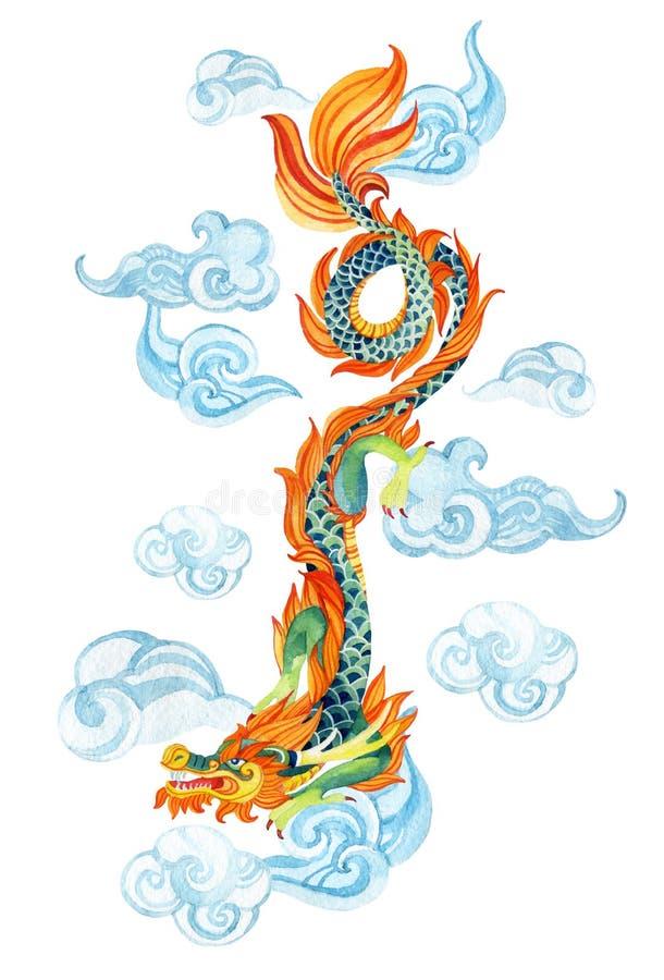 Chinesischer Drache Asiatische Dracheillustration stock abbildung