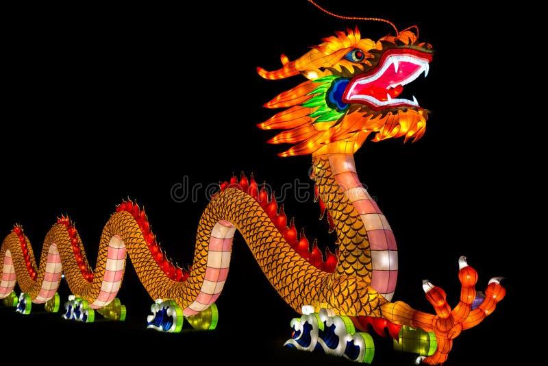 Chinesischer Drache belichtete Laterne stockfoto