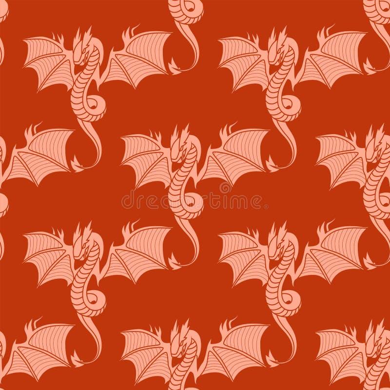 Chinesischer Drache silhouettiert des Musterendstückmonsters der Tätowierungsmythologie asiatischen Tierkunstvektor der nahtlosen stock abbildung