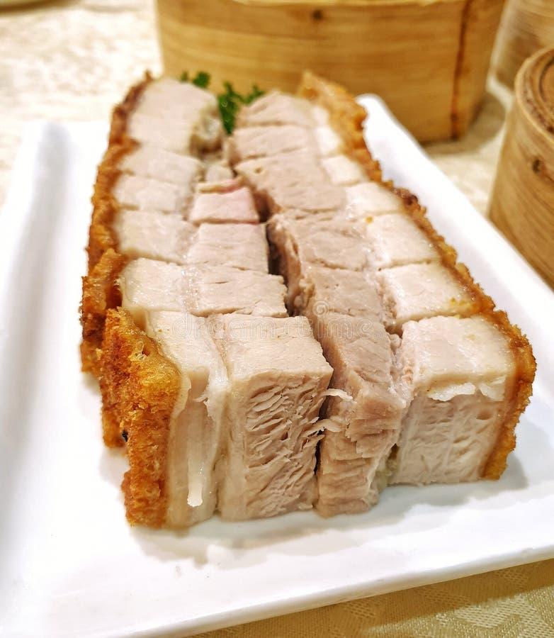 Chinesischer gebratenes Schweinefleisch-Bauch Siu Yuk Canotonese stockfotografie