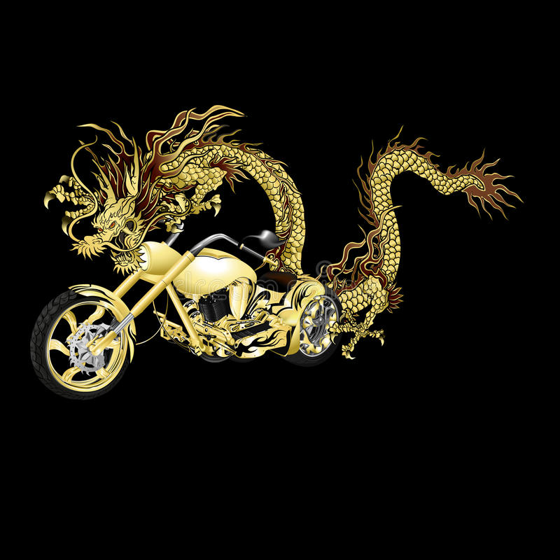 Chinesischer goldener Drache mit dem Motorrad, schwarz stock abbildung