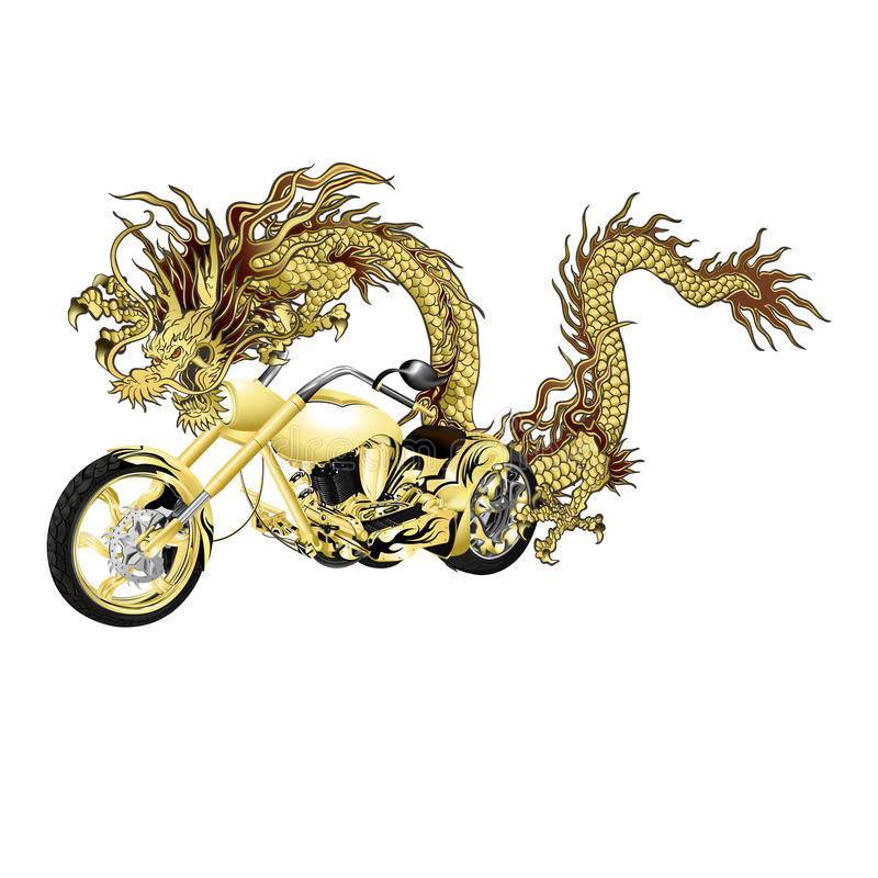 Chinesischer goldener Drache mit Motorrad stock abbildung