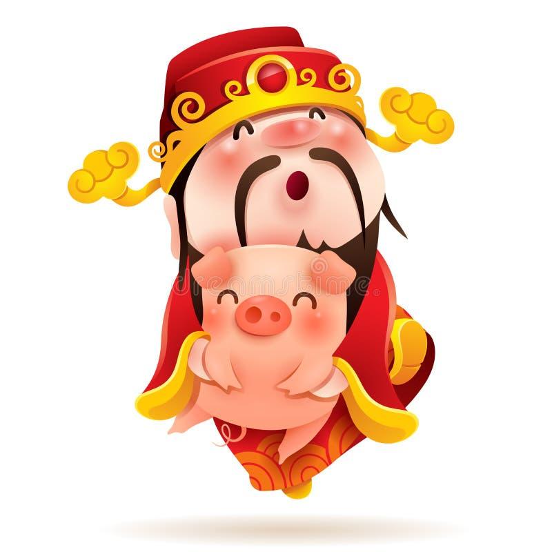 Chinesischer Gott des Reichtums und des kleinen Schweins stock abbildung