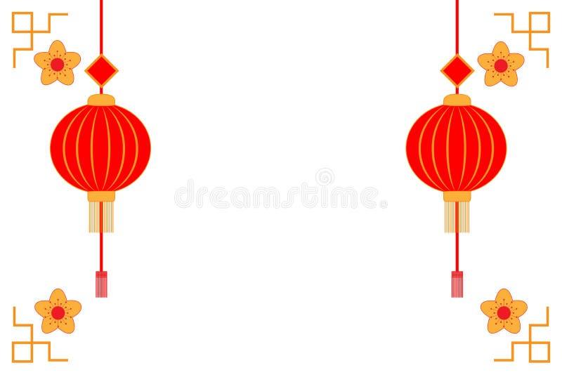 Chinesischer Hintergrund des neuen Jahres, Vektorguten rutsch ins neue jahr-Grußkarte, chinesisches Symbol des neuen Jahres lizenzfreie abbildung