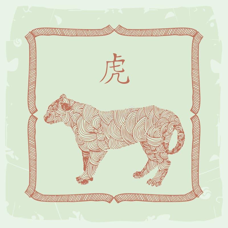 Chinesischer Horoskopzeichen Tiger stock abbildung
