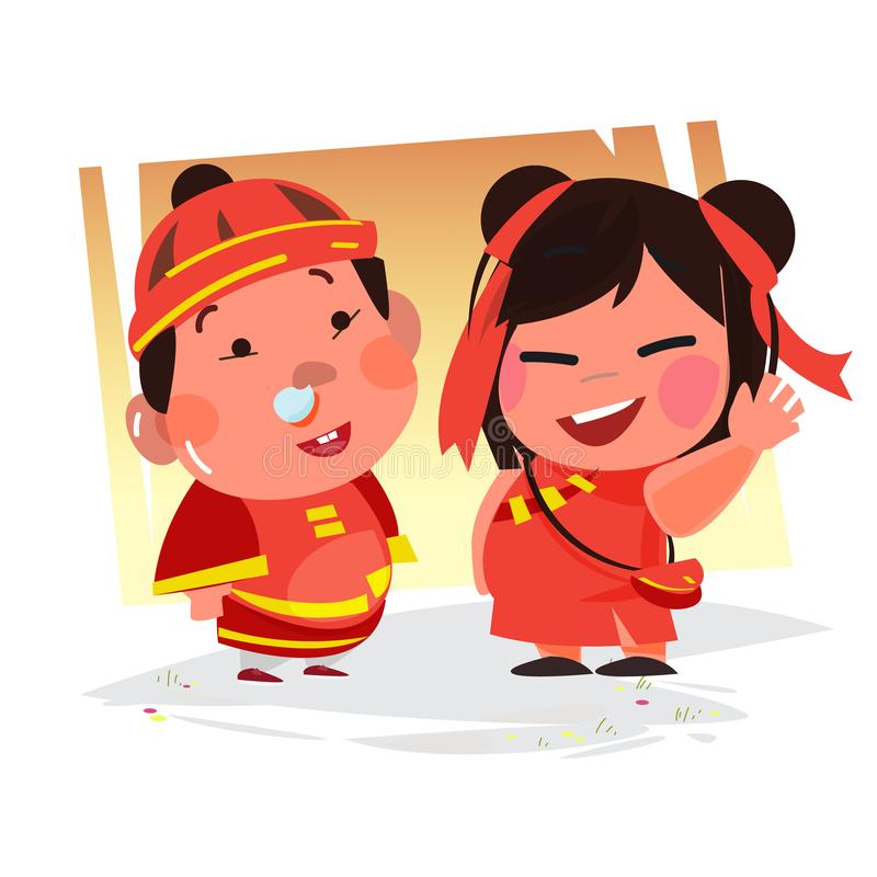 Chinesischer Jungen- und Mädchencharakter Kind auf der ganzen Welt lizenzfreie abbildung