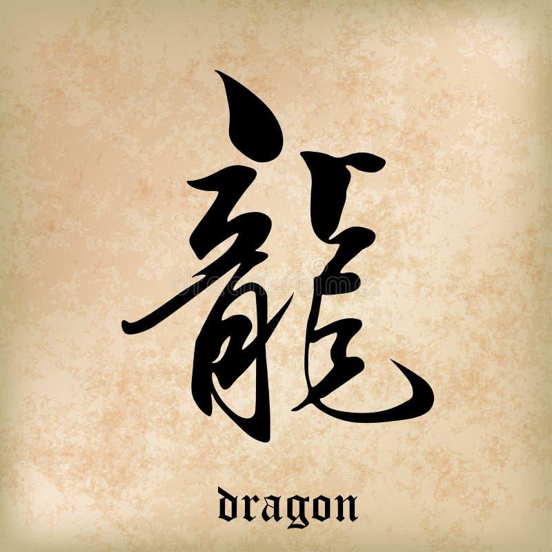 Chinesischer Kalligraphie-Drache, Kandschi, das chinesische Wort stock abbildung