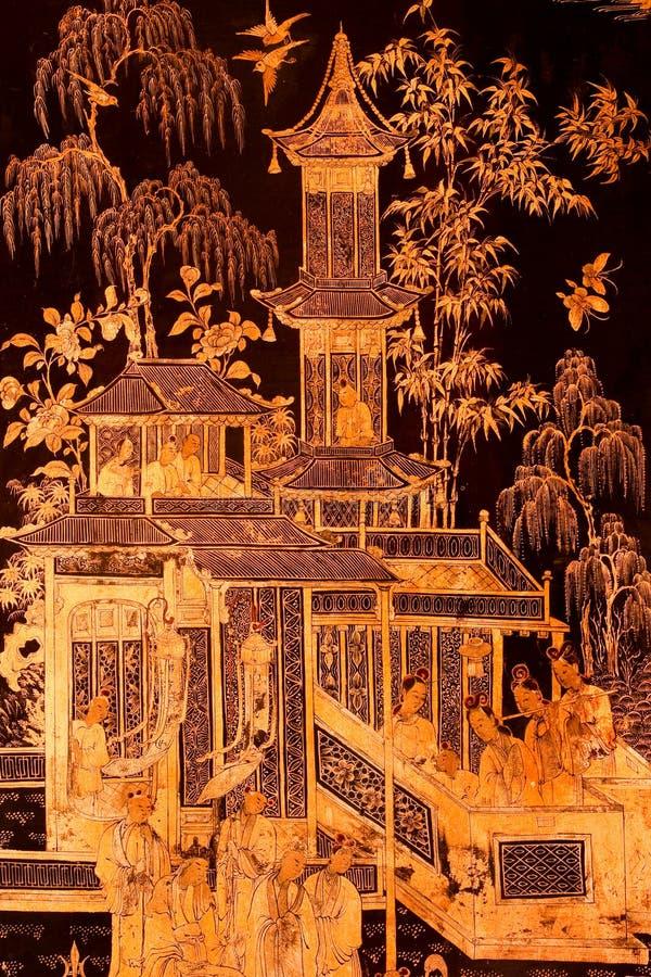 Chinesischer Kulturanstrich in der siamesischen tradtional Kunst lizenzfreies stockfoto