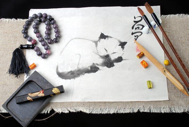 Chinesischer Kunstfunktionsraum auf einem schwarzen Hintergrund stockfoto