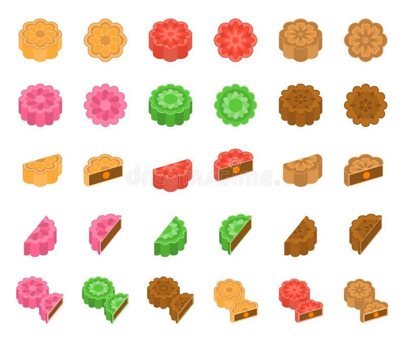 Chinesischer Mooncake für mittleres Herbstfestival im verschiedenen Geschmack vektor abbildung
