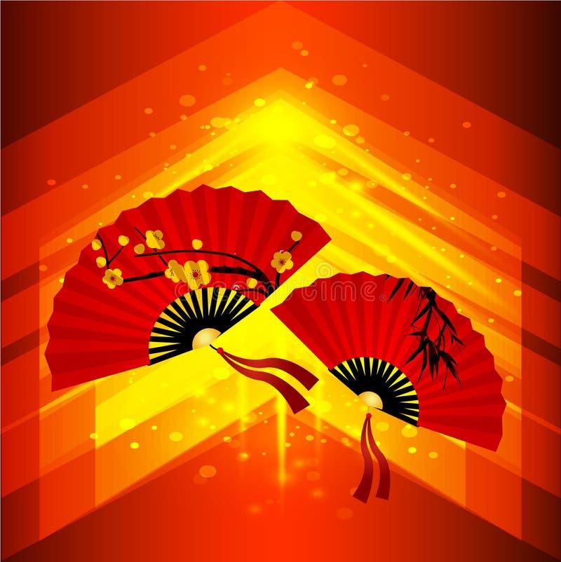 Chinesischer neues Jahr-Hintergrund Abstrakter Vektorhintergrund mit chinesischen Fans Schönes Scharlachrot Fan mit Kirschblüten lizenzfreie abbildung
