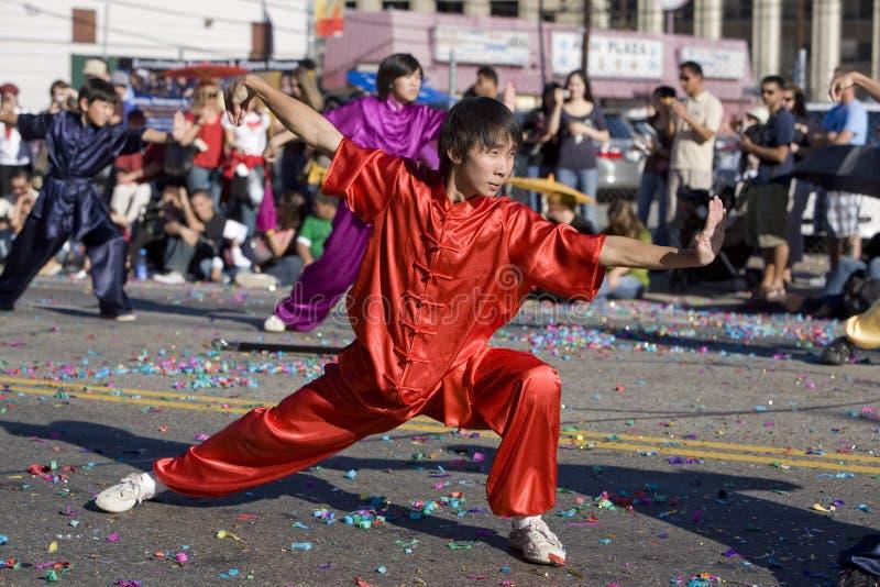 Chinesischer neues Jahr-Parade Wushu Praktiker 1 lizenzfreie stockfotografie