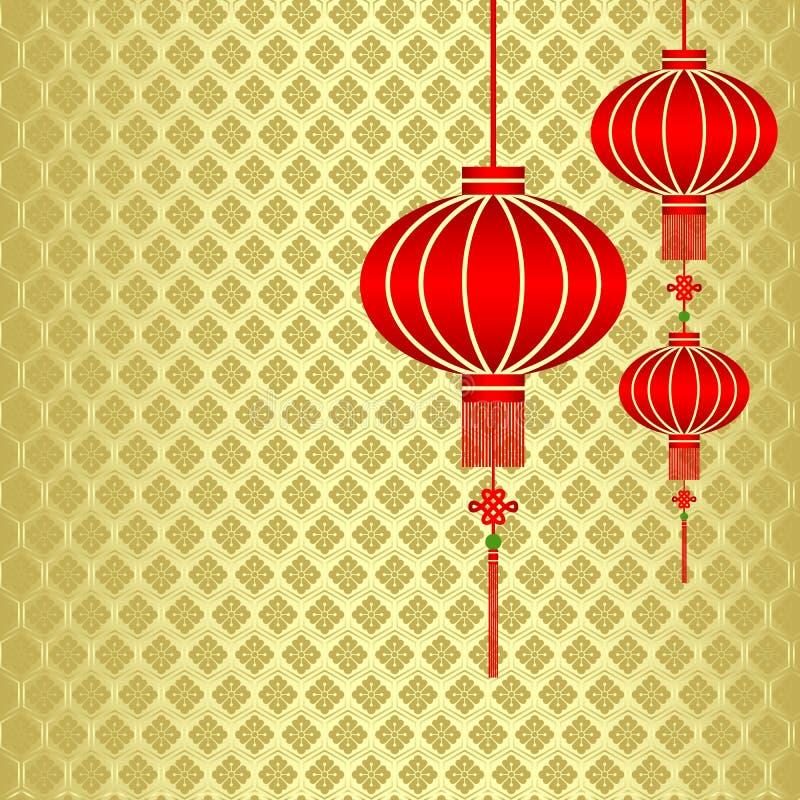 Chinesischer neues Jahr-roter Laterne-Hintergrund lizenzfreie abbildung
