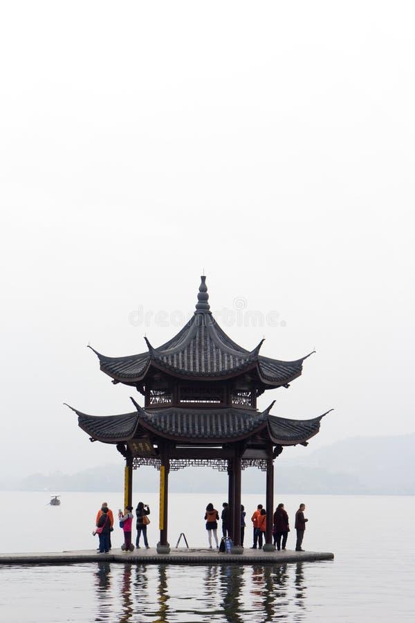 Chinesischer Pavillon in Hangzhou stockfotografie