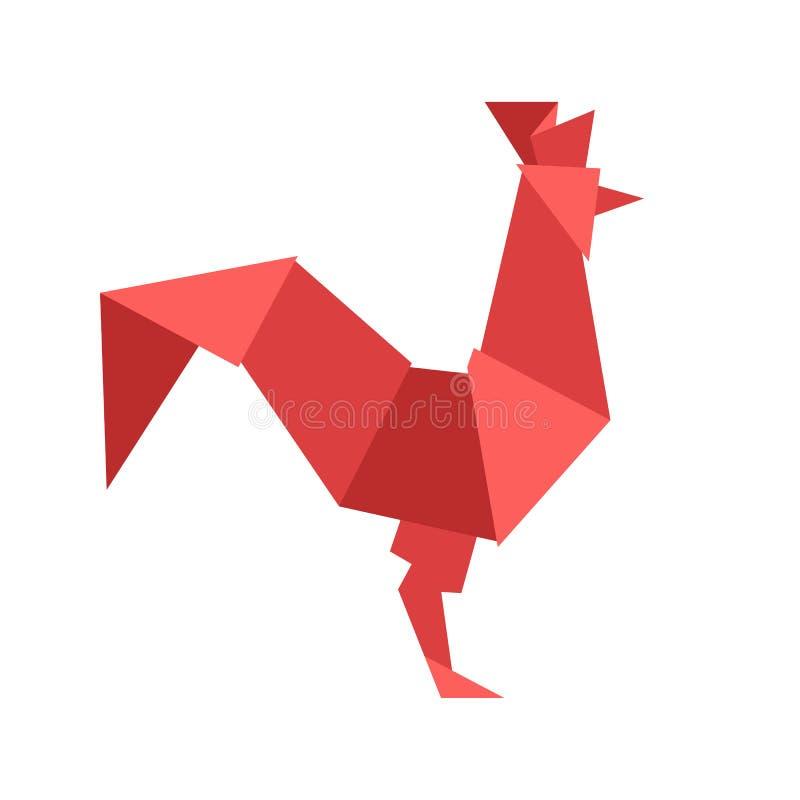 Chinesischer roter Hahn, lokalisiert auf Weiß lizenzfreie abbildung