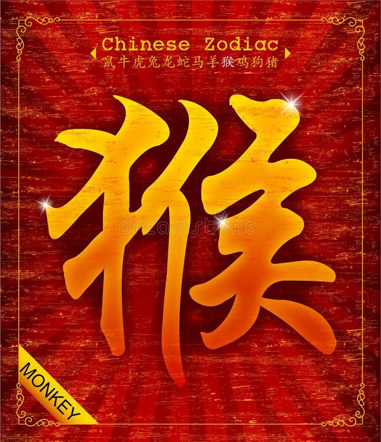 Chinesischer Tierkreis - Jahr des Affen lizenzfreie abbildung