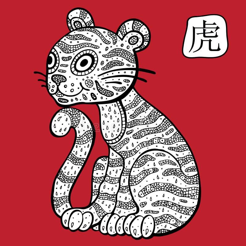 Chinesischer Tierkreis. Tiertierkreiszeichen. Tiger. lizenzfreie abbildung