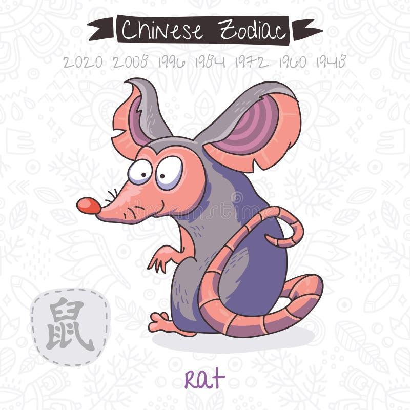 Chinesischer Tierkreis Zeichen-Ratte Auch im corel abgehobenen Betrag stock abbildung