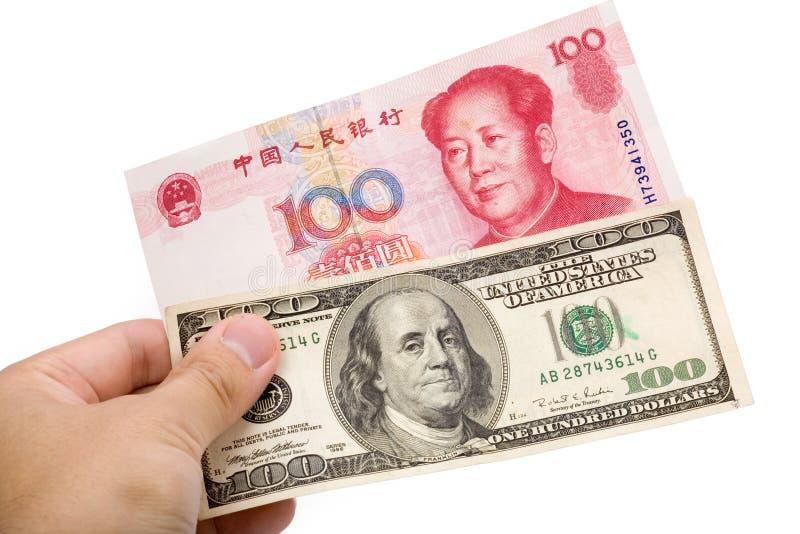 Chinesischer Yuan und US-Dollar stockfotografie