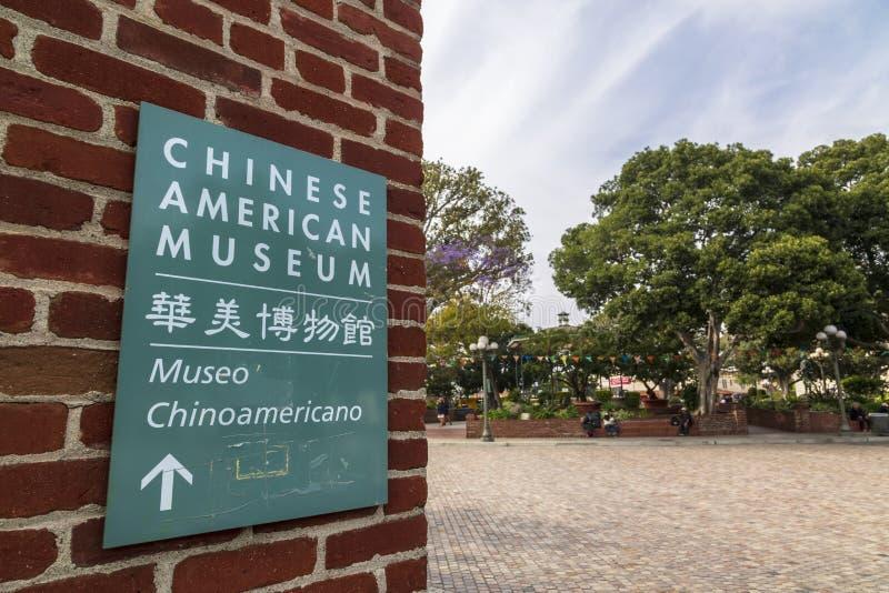 Chinesisches amerikanisches Museumszeichen, im Stadtzentrum gelegenes Los Angeles, Kalifornien, die Vereinigten Staaten von Ameri lizenzfreie stockfotografie