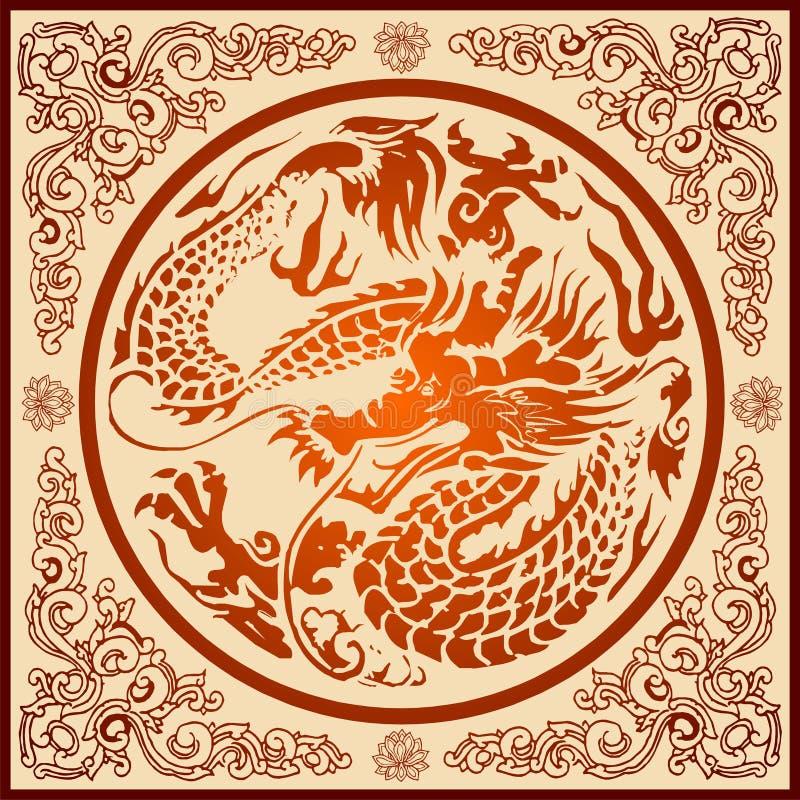 Chinesisches Drache-Muster lizenzfreie abbildung