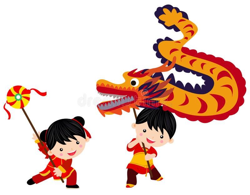 Chinesisches Festival des neuen Jahres/Drachetanz stock abbildung