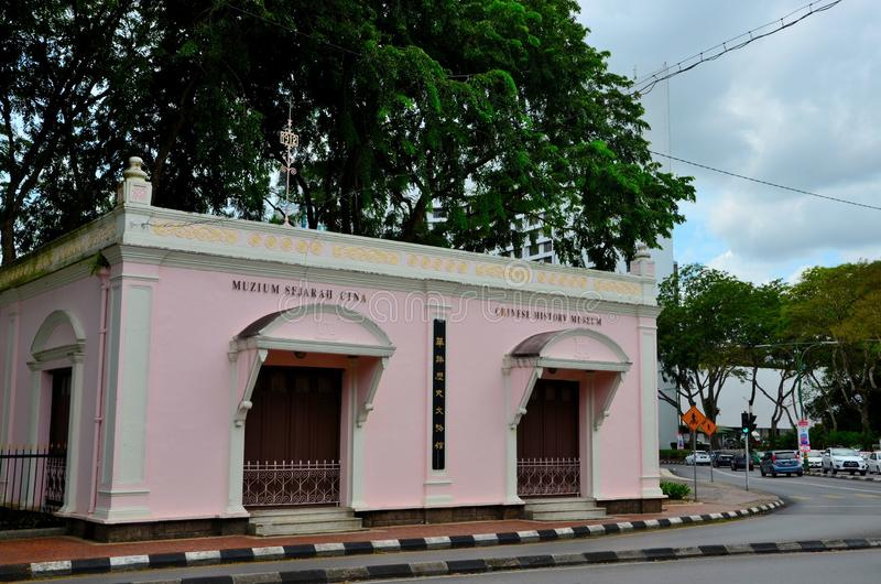 Chinesisches Geschichtsmuseumsgebäude durch Ufergegend Kuching Sarawak Borneo Malaysia stockfoto