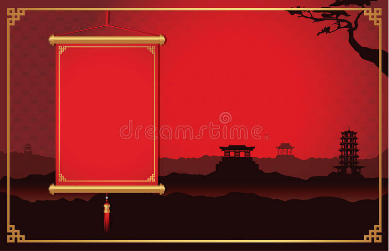 Chinesisches Hängen am China-Szenenhintergrund stock abbildung