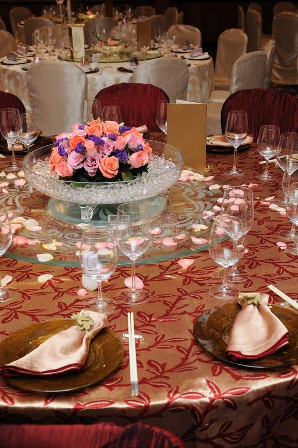 Chinesisches Hochzeitstabellenset lizenzfreie stockfotografie
