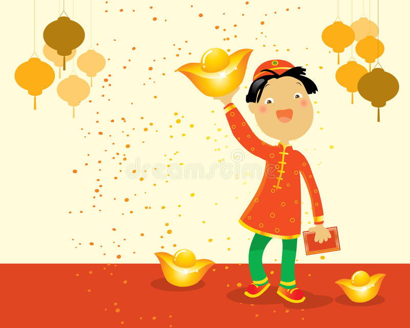 Chinesisches Kind des neuen Jahres lizenzfreie abbildung