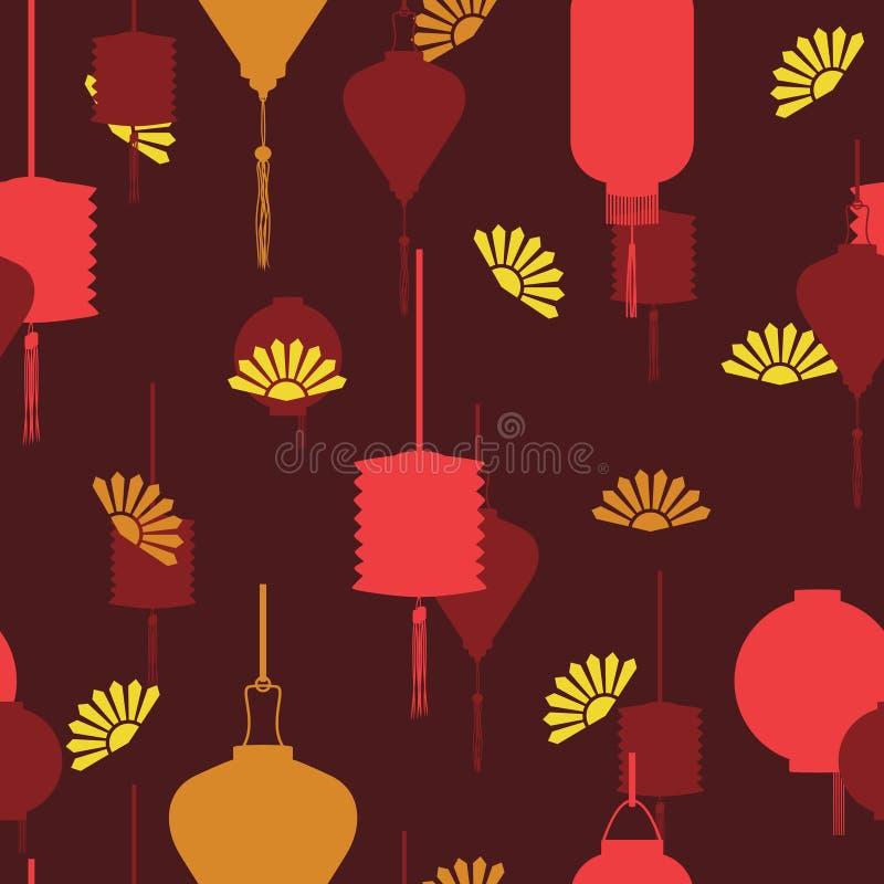 Chinesisches Laternen-Festival Chinas im nahtlosen wiederholbaren Muster lizenzfreie abbildung