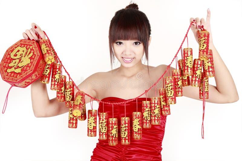 Chinesisches Mädchen im neuen Jahr. lizenzfreie stockfotos