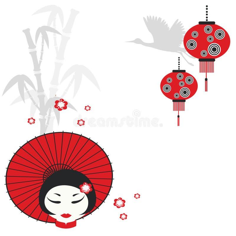 Chinesisches Mädchen mit Regenschirm lizenzfreie abbildung