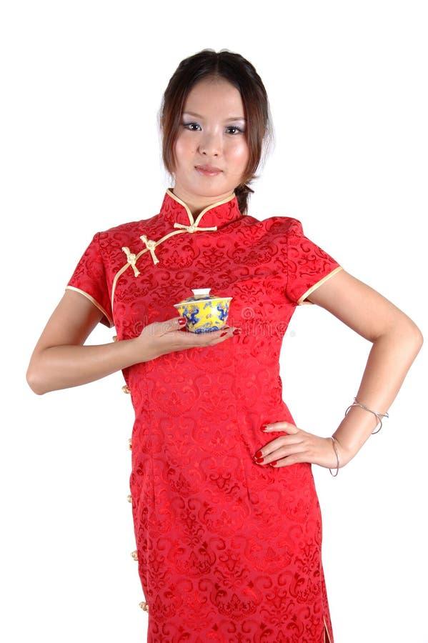 Chinesisches Mädchen mit Teecup stockfotos