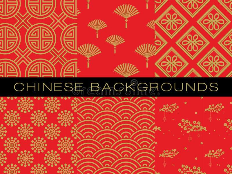 Chinesisches Muster eingestellt mit traditionellen Designen vektor abbildung