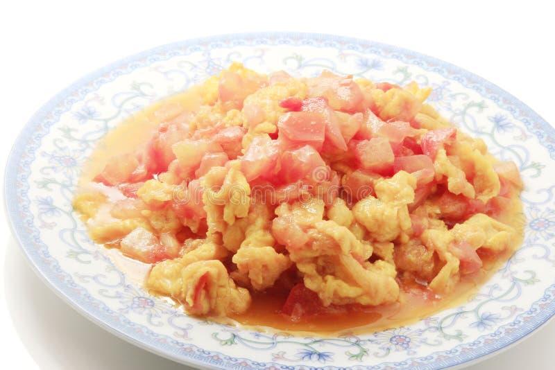 Chinesisches Nahrung-Durcheinandergemischtes Ei mit Tomate stockfotografie