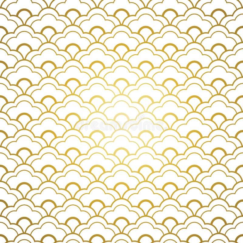 Chinesisches nahtloses Muster des Weißgolds lizenzfreie abbildung