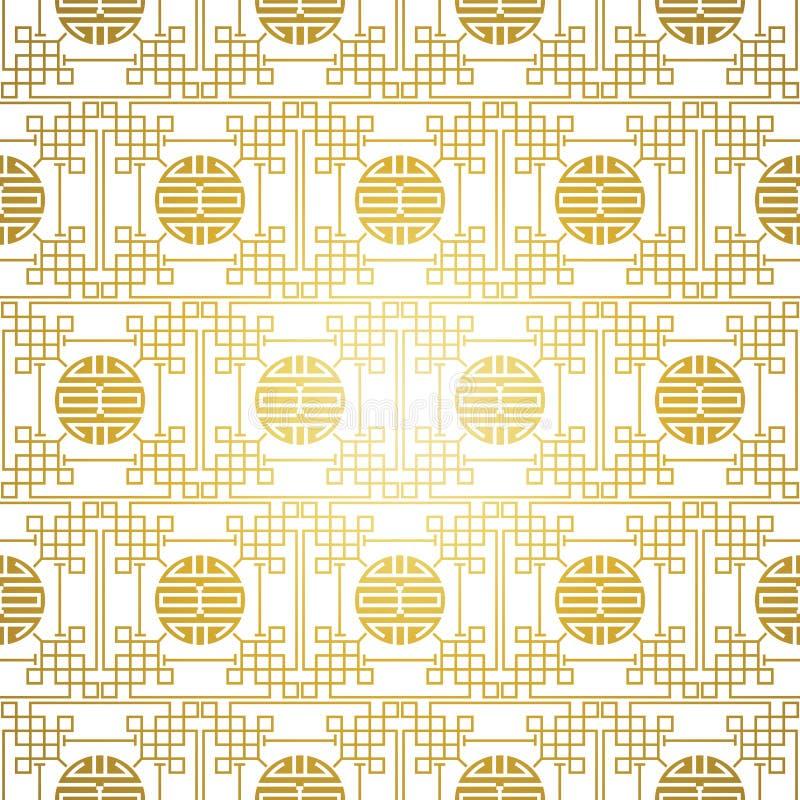 Chinesisches nahtloses Muster des Weißgolds stock abbildung