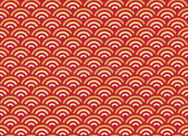 Chinesisches nahtloses Mustergold und rote Welle vektor abbildung