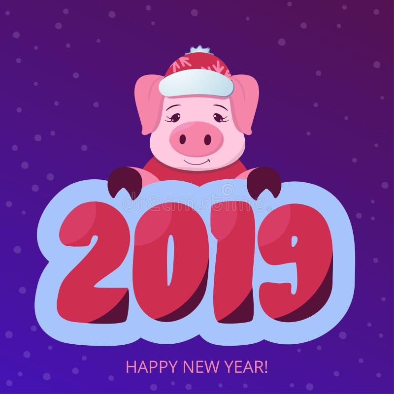 Chinesisches neues Jahr 2019 Nettes Schwein auf dem violetten Steigungshintergrund horoskop Abbildung des VektorEps10 Katze entwe lizenzfreie abbildung