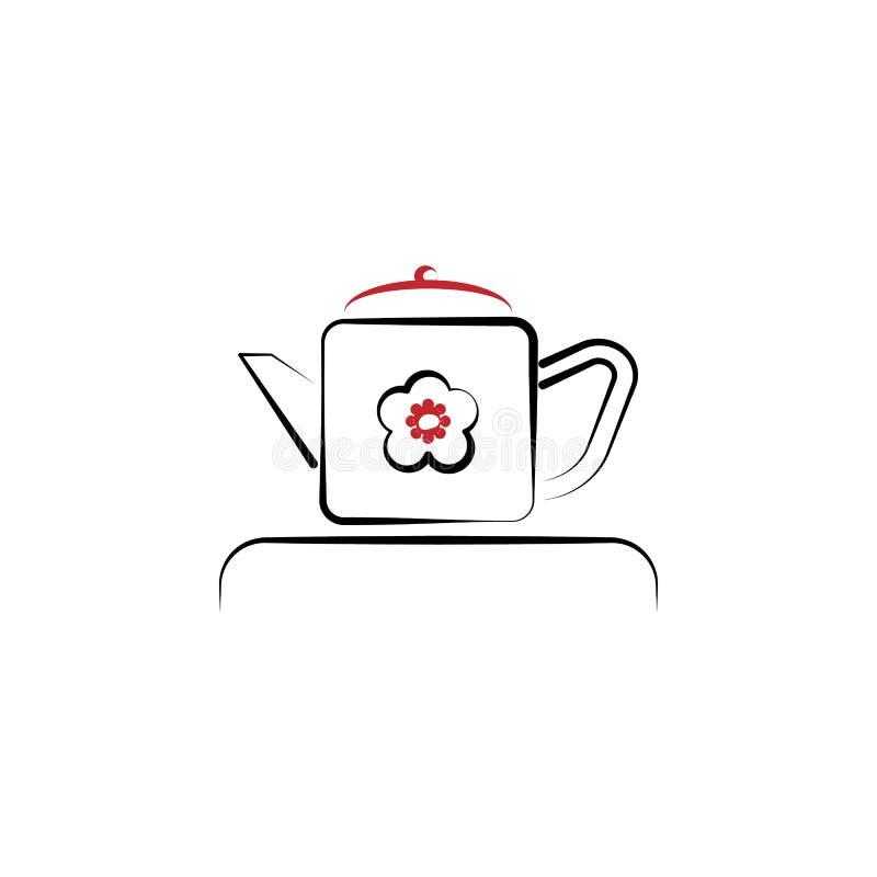Chinesisches neues Jahr, Teekannenikone Kann für Netz, Logo, mobiler App, UI, UX verwendet werden stock abbildung
